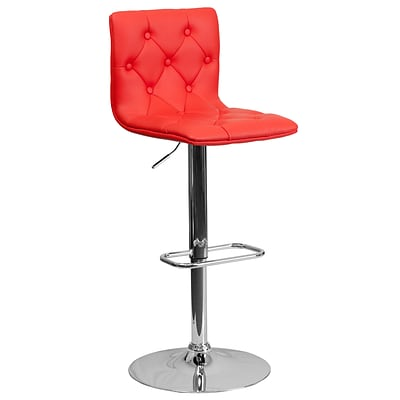 Flash Furniture 32.25 Contemporary Tufted Red Vinyl Adjustable Height Barstool w/Chrome Base, 4bx