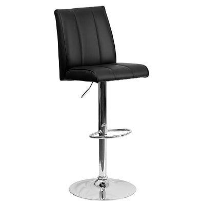 Flash Furniture Adjustable-Height Contemporary Vinyl Barstool, Black with Chrome Base (CH122090BK)