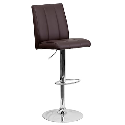 Flash Furniture Adjustable-Height Contemporary Vinyl Barstool, Brown with Chrome Base (CH122090BRN)