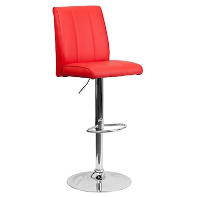 Flash Furniture Adjustable-Height Contemporary Vinyl Barstool, Red with Chrome Base (CH122090RED)