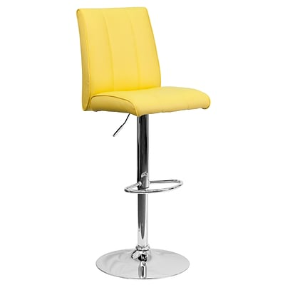 Flash Furniture Contemporary Vinyl Adjustable Height Barstool, Yellow with Chrome Base (CH122090YEL)