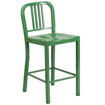 Flash Furniture 24 High Metal Indoor/Outdoor Counter Height Stool, Green (CH3120024GN)