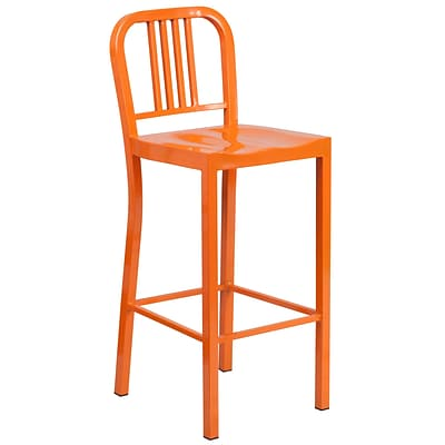 Flash Furniture 30H Indoor/Outdoor Barstool, Orange Metal (CH3120030OR)