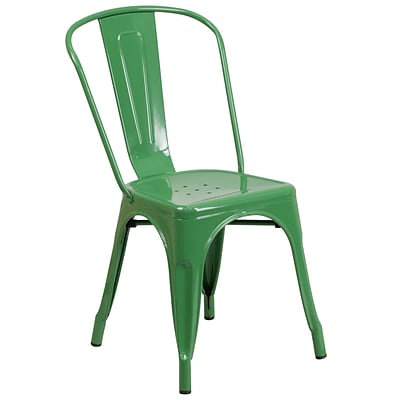 Flash Furniture Metal Indoor-Outdoor Stackable Chair, Green, CH31230GN