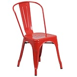 Flash Furniture Metal Indoor-Outdoor Stackable Chair, Red Powder Coat Finish, 4/Box (CH31230RED)