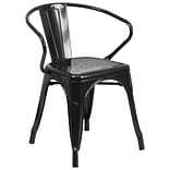 Black Metal Indoor/Outdoor Chair with Arms