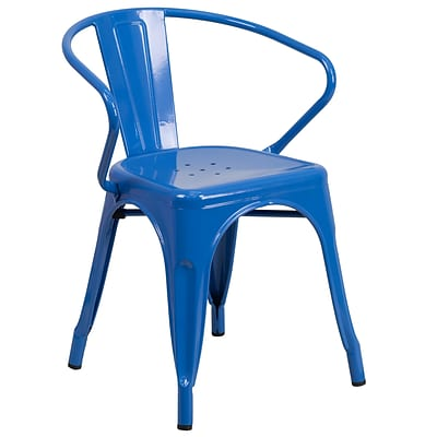 Flash Furniture Metal Indoor/Outdoor Chair with Arms, Blue (CH31270BL)