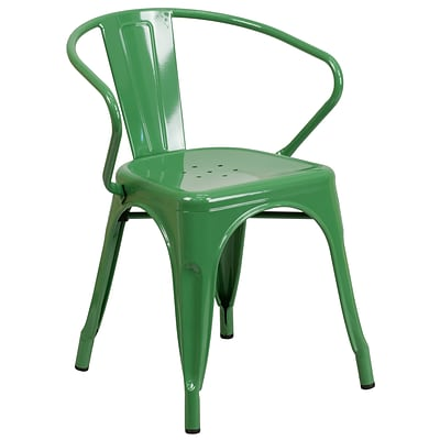 Flash Furniture Green Metal Indoor-Outdoor Chair with Arms (CH31270GN)
