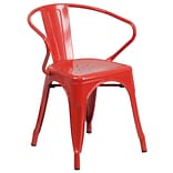 Metal Indoor/Outdoor Chair with Arms; Red