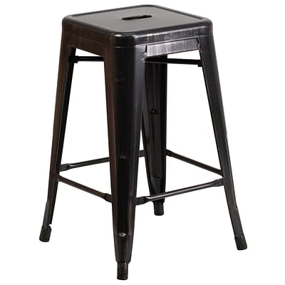 Flash Furniture 24 Backless Black-Antique Gold Metal Indoor/Outdoor Counter-Height Stool, Sq Seat
