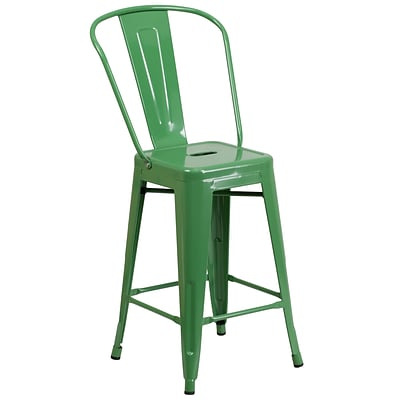 Flash Furniture 24H Metal Indoor/Outdoor Counter-Height Stool, Green (CH3132024GBGN)