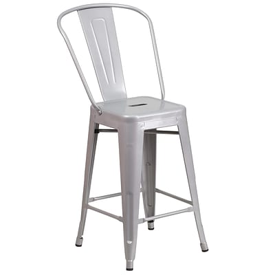 Flash Furniture 24.25 High Silver Metal Indoor-Outdoor Counter Height Stool, 4bx (CH3132024GBSIL)
