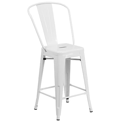 Flash Furniture 24 High White Metal Indoor/Outdoor Counter Height Stool (CH3132024GBWH)