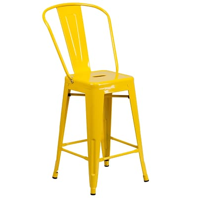 Flash Furniture 24 High Metal Indoor/Outdoor Counter-Height Stool, Yellow (CH3132024GBYL)
