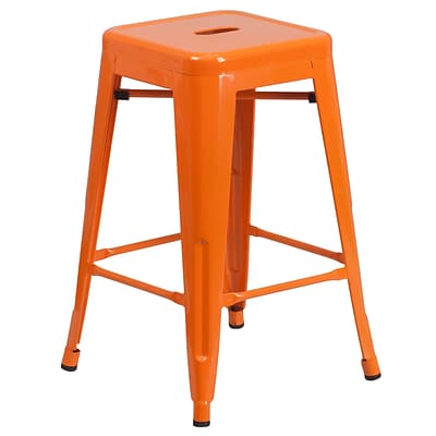 Flash Furniture 24 High Backless Orange Metal Indoor/Outdoor Counter-Height Stool, Square Seat