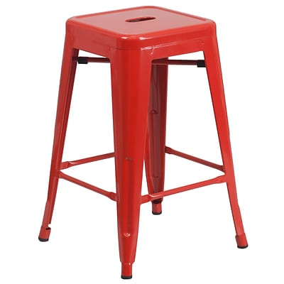 Flash Furniture 24H Backless Indoor/Outdoor Counter Height Stool, Red Metal, Square Seat