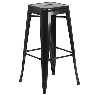 Flash Furniture 30H Backless Black Metal Indoor/Outdoor Barstool, Square Seat (CH3132030BK)