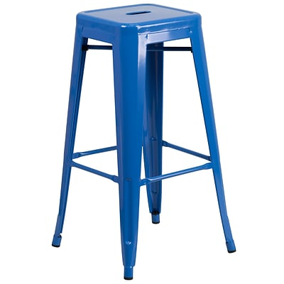 Flash Furniture 30H Backless Metal Indoor/Outdoor Barstool with Square Seat, Blue (CH3132030BL)