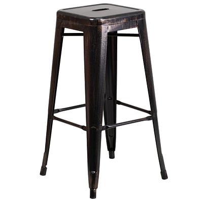 Flash Furniture 30 High Backless Metal Indoor/Outdoor Barstool, Black/Antique Gold w/Square Seat