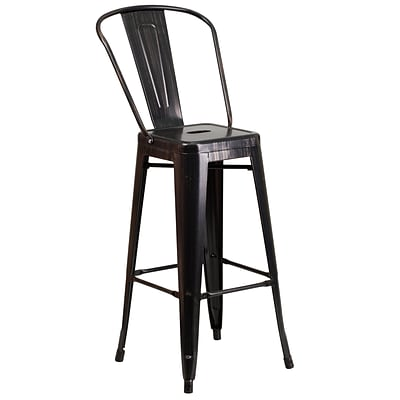 Flash Furniture 30H Metal Indoor/Outdoor Barstool, Black/Antique Gold (CH3132030GBBQ)