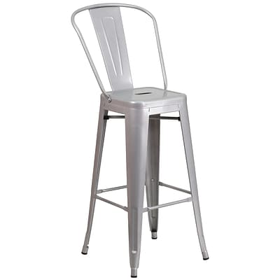 Flash Furniture 30 High Metal Indoor/Outdoor Barstool, Silver (CH3132030GBSIL)