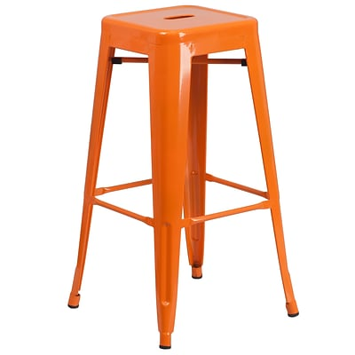 Flash Furniture 30 High Backless Metal Indoor/Outdoor Barstool w/Square Seat, Orange (CH3132030OR)