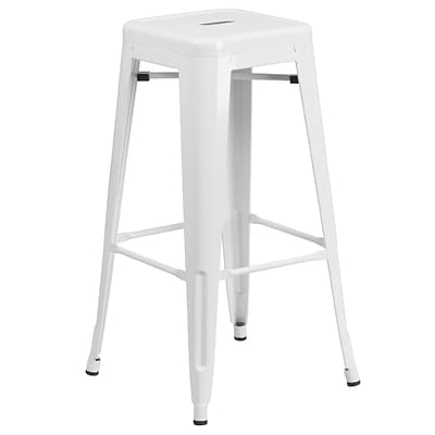 Flash Furniture 30H Backless White Metal Indoor/Outdoor Barstool with Square Seat (CH3132030WH)
