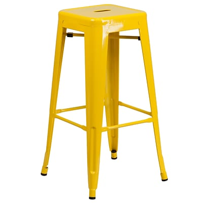 Flash Furniture 30 High Backless Metal Indoor/Outdoor Barstool w/Square Seat, Yellow (CH3132030YL)