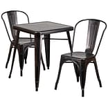 In/Out T w/2 Stack Chairs Blk/Antique Gold