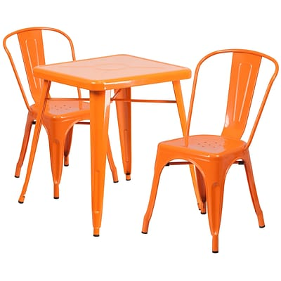 Flash Furniture Metal Indoor/Outdoor Table Set with 2 Stack Chairs; Orange (CH31330230OR)