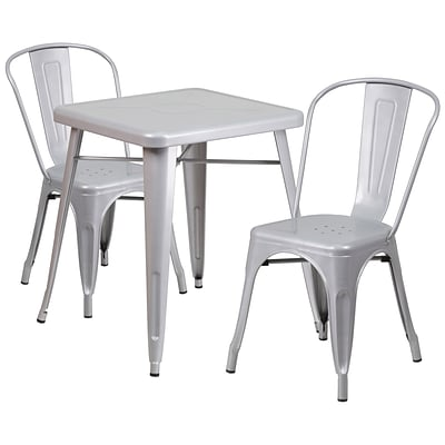 Flash Furniture Metal Indoor/Outdoor Table Set with 2 Stack Chairs; Silver (CH31330230SIL)