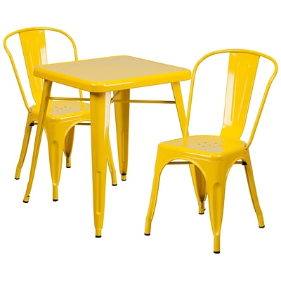 Flash Furniture Metal Indoor/Outdoor Table Set with 2 Stack Chairs; Yellow (CH31330230YL)