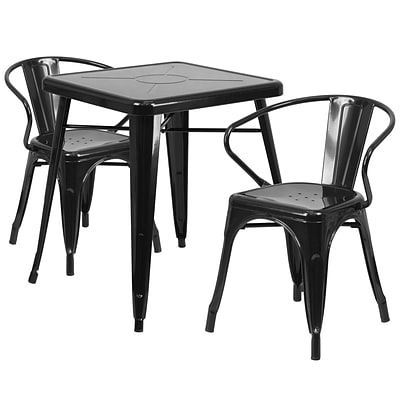 Flash Furniture Metal Indoor/Outdoor Table Set with 2 Arm Chairs; Black (CH31330270BK)