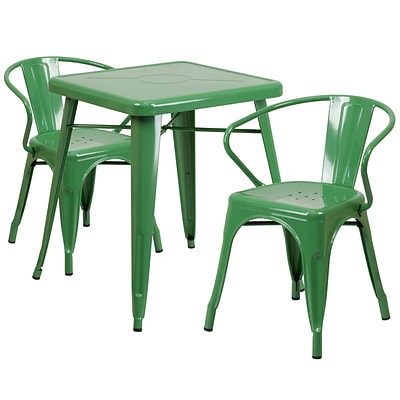 Flash Furniture Metal Indoor/Outdoor Table Set; Green with 2 Arm Chairs (CH31330270GN)