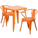 Orange Metal In/Out T Set w/2 Arm Chairs