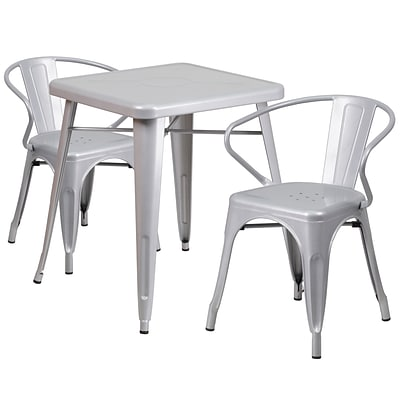 Flash Furniture Metal Indoor/Outdoor Table Set with 2 Arm Chairs; Silver (CH31330270SIL)