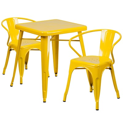 Flash Furniture Metal Indoor/Outdoor Table Set with 2 Arm Chairs; Yellow (CH31330270YL)