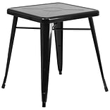 24 Square Metal In/Out Table; Black