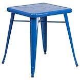 24 Square Metal In/Out Table; Blue