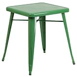 24 Square Metal In/Out Table; Green