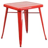 24 Square Metal Indoor/Outdoor Table; Red