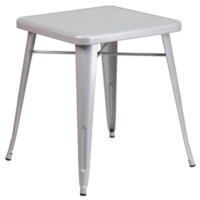Flash Furniture 24 Square Metal Indoor/Outdoor Table; Silver (CH3133029SIL)