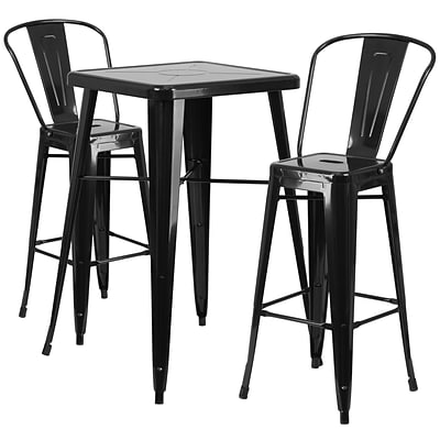 Flash Furniture Metal Indoor/Outdoor Bar Table Set with 2 Barstools; Black (CH31330B230GBBK)
