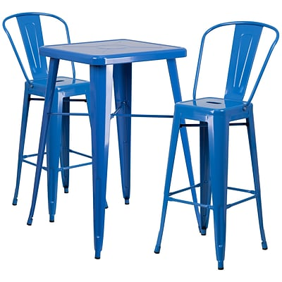 Flash Furniture Metal Indoor/Outdoor Bar Table Set with 2 Barstools; Blue (CH31330B230GBBL)