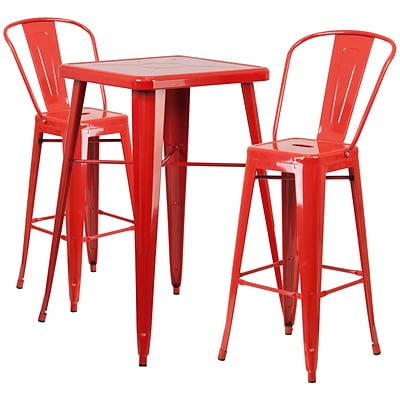 Flash Furniture Metal Indoor/Outdoor Bar Table Set; Red, with 2 Barstools (CH31330B230GBRD)