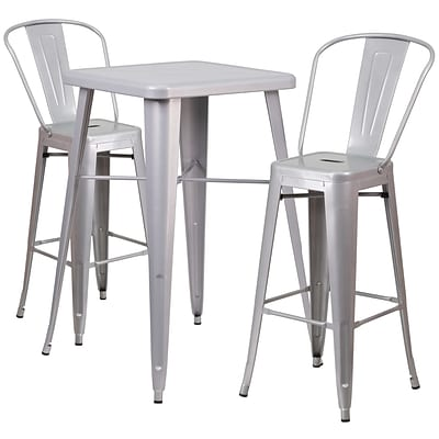 Flash Furniture Metal Indoor/Outdoor Bar Table Set with 2 Barstools; Silver (CH31330B230GBSV)