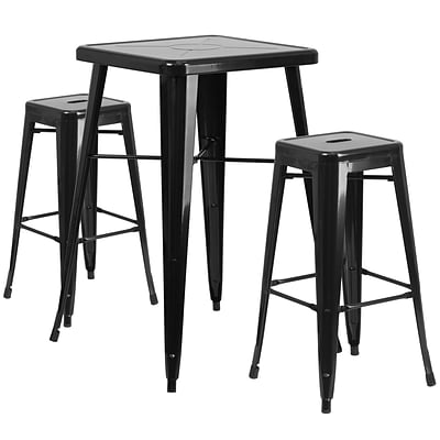 Flash Furniture Metal Indoor/Outdoor Bar Table Set w/2 Backless Barstools; Black (CH31330B230SQBK)