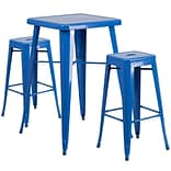 In/Out Bar T w/2 Backless Barstools Blue