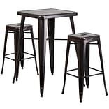 In/Out Bar T w/2 Backless Barstools Blk/Ant