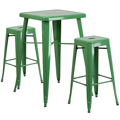 Flash Furniture 27.75 Metal Indoor-Outdoor Bar Table Set w/2 Backless Barstools in Green